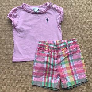 EUC Ralph Lauren Tee w plaid Janie & Jack shorts